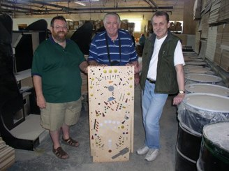 Gene's reproduction Big Bang Bar playfields getting made.<br />Playfields getting made in Chicago at the Churchill factory.